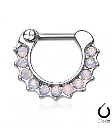 Surgical Steel Webbed Opal Septum Clicker