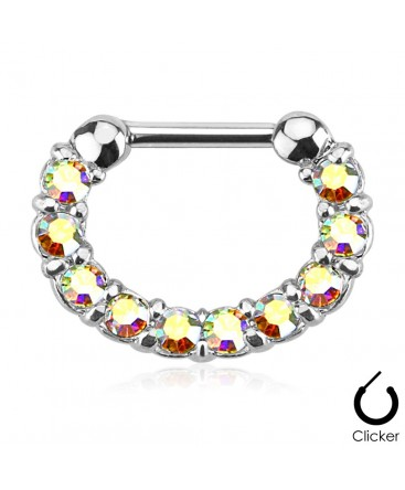 Surgical Steel Multi Gem Oval Septum Clicker