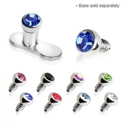 Surgical Steel 2mm Gem Dermal Anchor Head
