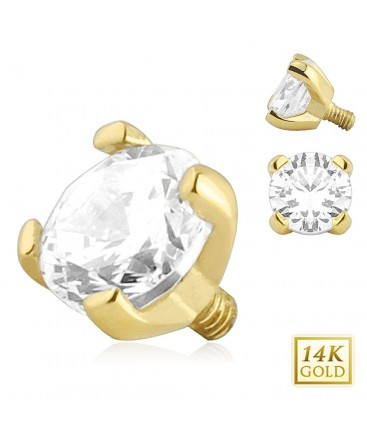 14ct Gold Clear CZ Dermal Anchor Head