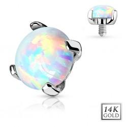14ct White Gold Opal Stone Dermal Anchor Head