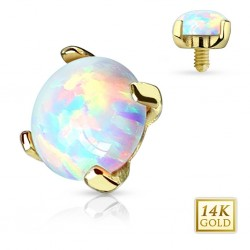 14ct Yellow Gold Opal Stone Dermal Anchor Head