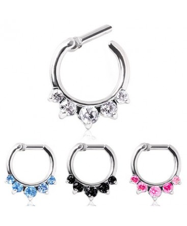 Surgical Steel Five Gem Droplet Septum Clicker