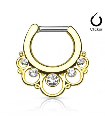 Surgical Steel Floral CZ Gem Septum Clicker