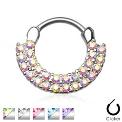 Double Cubic Zirconia Gem Paved Septum Clicker