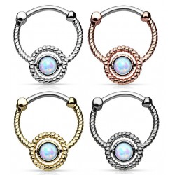 Surgical Steel Rope Design Opal Stone Septum Clicker