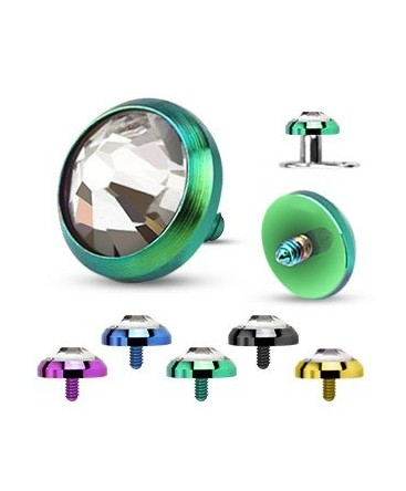 Anodised Titanium Dome With Clear Gem Dermal Anchor
