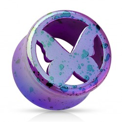 Acrylic Splatter Butterfly Design Ear Tunnel