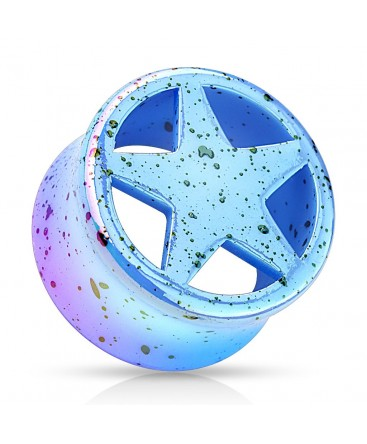 Acrylic Splatter Star Design Ear Tunnel
