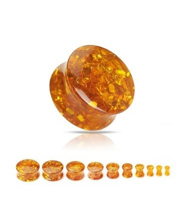 Synthetic Amber Saddle Double Flare Ear Tunnel