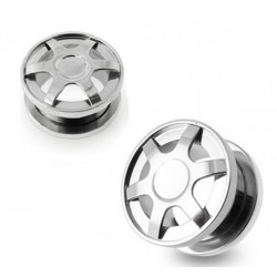 Surgical Steel Double Flare Alloy Wheel Design Ear Tunnel
