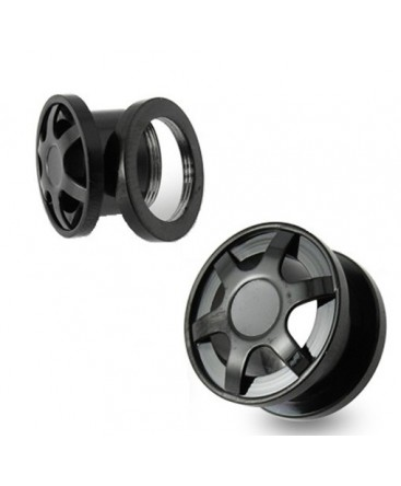 Surgical Steel Double Flared Black Alloy Wheel Design Ear Tunnel