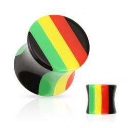 Acrylic Jamaican Rasta Style Ear Tunnel