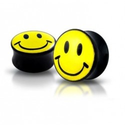 Acrylic Smiley Face Design Ear Tunnel