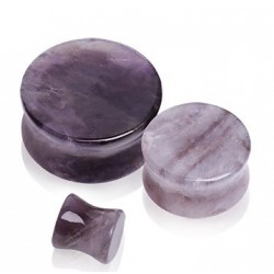 Natural Purple Amethyst Semi Precious Stone Ear Tunnel