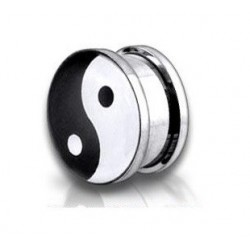 Surgical Steel Ying Yang Logo Ear Tunnel