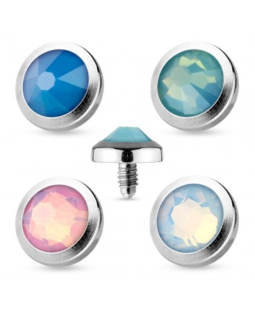 Surgical Steel Opal Dome Shape Dermal Anchor Head