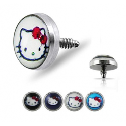 Surgical Steel Hello Kitty Logo Dermal Anchor Head