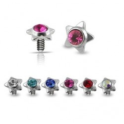 Surgical Steel Star Gem Dermal Anchor Head