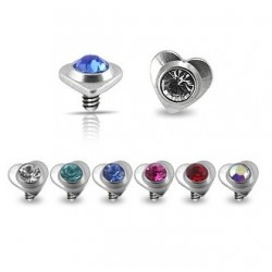 Surgical Steel Heart Gem Dermal Anchor Head
