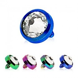 Anodised Titanium Clear Gem Dome Dermal Anchor Head