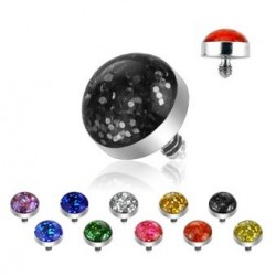 Surgical Steel Sparkly Glitter Dermal Anchor Head