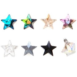 Surgical Steel 5mm Prism Star Dermal Anchor Head
