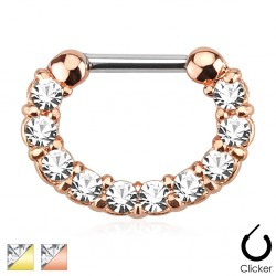 Gold Plated Over Surgical Steel Clear Gem Septum Clicker