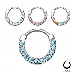 Surgical Steel Single Line CZ Gem Round Septum Clicker