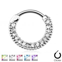 Surgical Steel Round Paved CZ Crystal Gem Septum Clicker