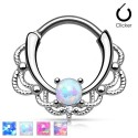 Surgical Steel Lacey Ornate Septum Clicker with Opal Stone