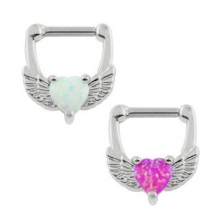 Surgical Steel Love Heart Opal Wings Septum Clicker