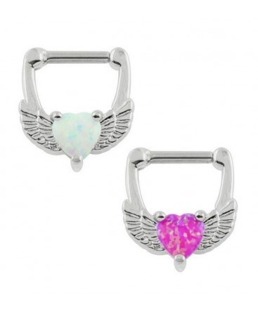 Surgical Steel Love Heart White Fire Opal Wings Septum Clicker