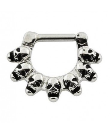 Surgical Steel Linked Gothic Skull Septum Clicker