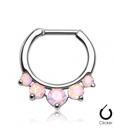Surgical Steel Opal Gem Droplet Septum Clicker