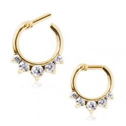 Gold Plated Clear CZ Droplet Gem Septum Clicker