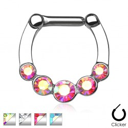 Surgical Steel Five CZ Gem Paved Septum Clicker
