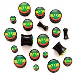 Acrylic Cannabis Weed Ganja Pot Leaf Ear Tunnel