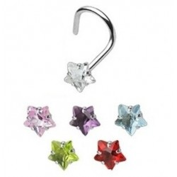 Surgical Steel Coloured Star Gem Nose Hook
