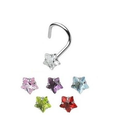 Surgical Steel Coloured Star Gem Nose Hook / Pin