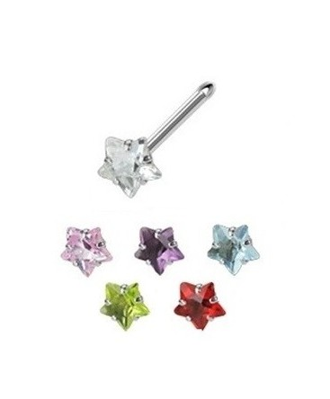 Surgical Steel Coloured Star Gem Nose Pin