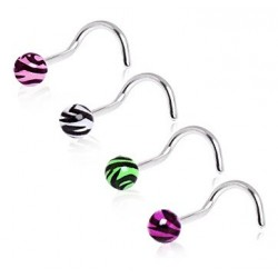 Surgical Steel Zebra Tiger Stripe Ball Nose Hook / Stud