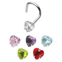 Surgical Steel Coloured Heart Gem Nose Hook