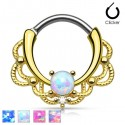 Gold Plated Lacey Ornate Septum Clicker Ring with Opal Stone
