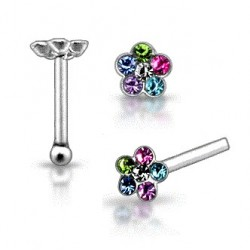 925 Sterling Silver Multi-Colour Gem Flower Nose Stud / Pin