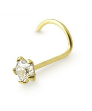 9ct Gold Nose Stud Hook With Clear Cubic Zirconia Star Gem
