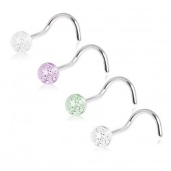 Surgical Steel Glitter Ball Nose Stud / Hook / Screw