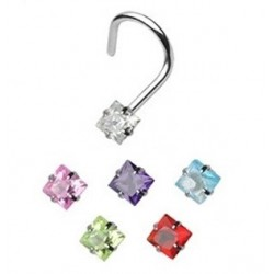 Surgical Steel Coloured Square Gem Nose Hook