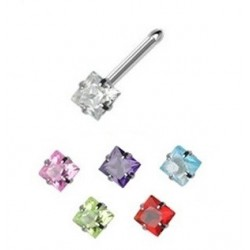 Surgical Steel Coloured Square Gem Nose Pin