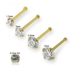9ct Gold 4 Claw Set Cubic Zirconia Gem Nose Stud / Pin